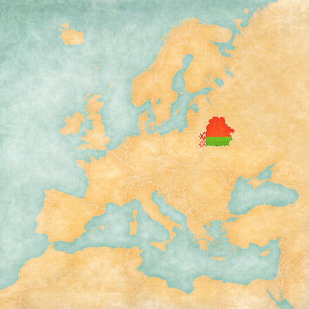 Belarus (belarusian flag) on the map of Europe. The Map is in vintage summer style and sunny mood. The map has a soft grunge and vintage atmosphere, which acts as watercolor painting on old paper. Stock Photo