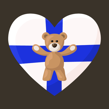 Teddy Bears with heart with flag of Finland on the background. Vector