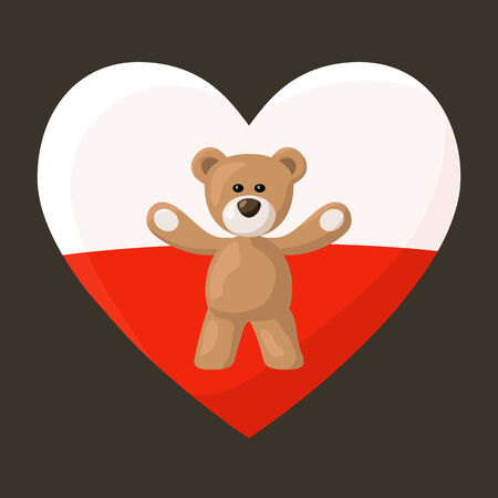 Teddy Bears with heart with flag of Poland on the background. Vector