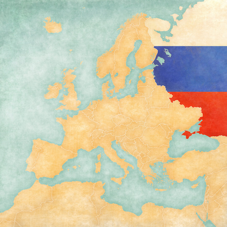 Russia (Russian flag) on the map of Europe. The Map is in vintage summer style and sunny mood. The map has a soft grunge and vintage atmosphere, which acts as watercolor painting on old paper. photo