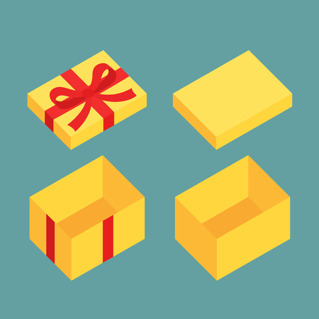 gift box open: Yellow open box for gifts. Christmas and flat design variant. Illustration