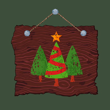 Dark wooden sign with painted Christmas trees for sale.