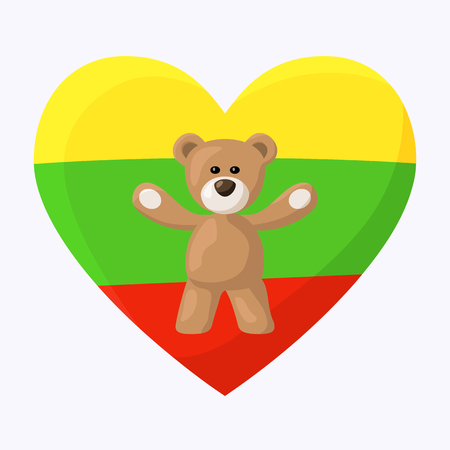 Teddy Bears with heart with flag of Lithuania. Travel souvenir from from visiting the country.