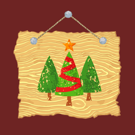 Light wooden sign with painted Christmas trees for sale.