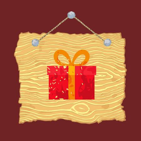 빛 그린 된 크리스마스 선물을 나무 기호 매달려입니다.
