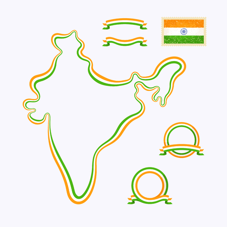 Outline map of India. Border is marked with ribbon in national colors. The package contains frames in national colors and stamp with flag. Vector