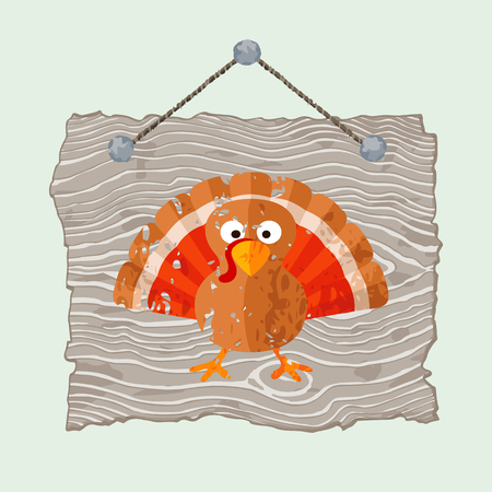 gobbler: Grey hanging wooden sign with painted grunge pumpkin.
