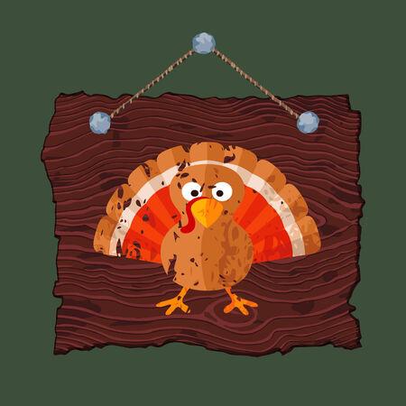 gobbler: Dark brown hanging wooden sign with painted grunge pumpkin.