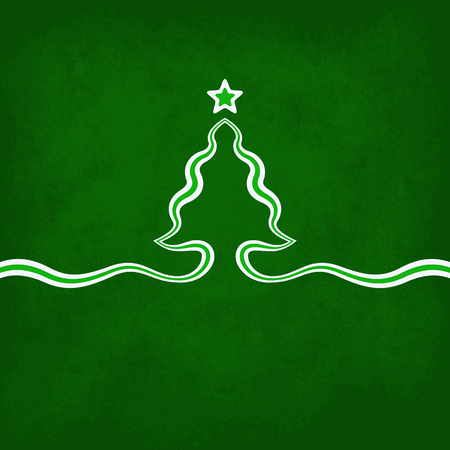 Christmas card with christmas tree and star on green . Tree is created with ribbon. Illustration