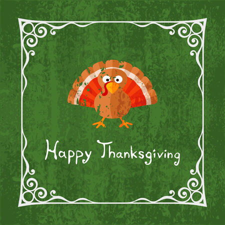 gobbler: Happy Thanksgiving card with cartoon of turkey.