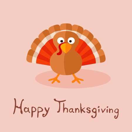 Happy Thanksgiving card with cartoon of turkey.