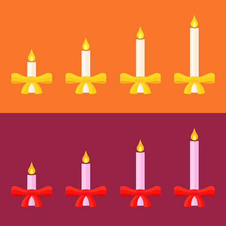 advent candles: Advent candles with gold or red bow.