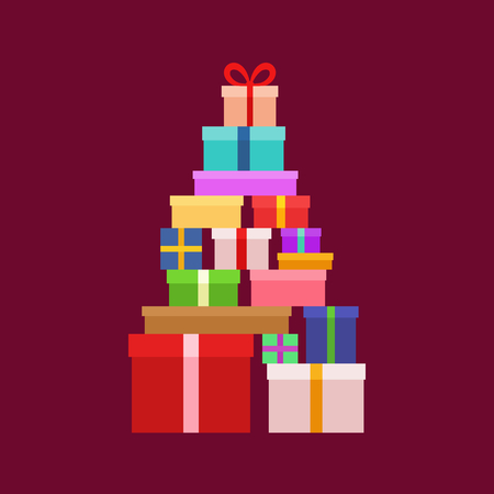 gift wrapped: Stack of Christmas Boxes for gifts. Flat design.