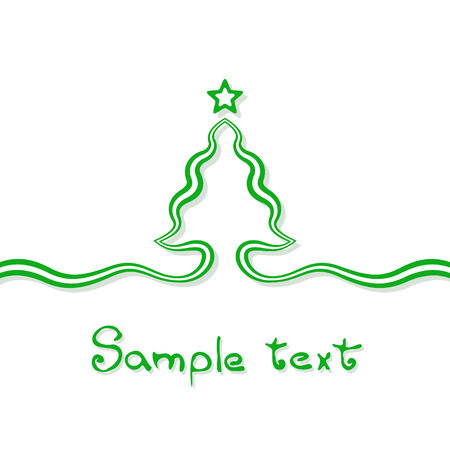 Christmas card background with christmas tree and star. Tree is created with a ribbon. Illustration