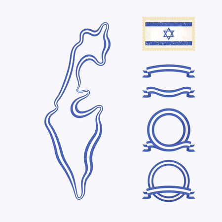 national border: Outline map of Israel. Border is marked with ribbon in national colors. The package contains frames in national colors and stamp with flag. Illustration