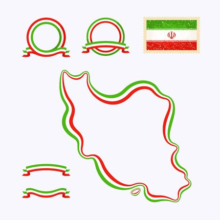 national border: Outline map of Iran. Border is marked with ribbon in national colors. The package contains frames in national colors and stamp with flag.