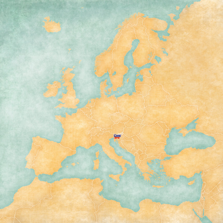 slovenian: Slovenia (Slovenian flag) on the map of Europe. The Map is in vintage summer style and sunny mood. The map has soft grunge and vintage atmosphere, which acts as watercolor painting on old paper.