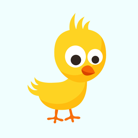 Small yellow chick in flat design style.