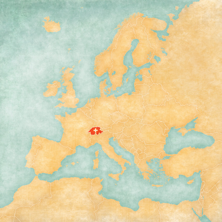 Switzerland (Swiss flag) on the map of Europe. The Map is in vintage summer style and sunny mood. The map has soft grunge and vintage atmosphere, which acts as watercolor painting on old paper.