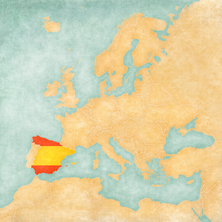 Spain (Spanish flag) on the map of Europe. The Map is in vintage summer style and sunny mood. The map has soft grunge and vintage atmosphere, which acts as watercolor painting on old paper.