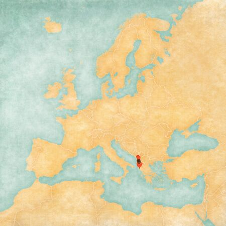 yellowed: Albania (Albanian flag) on the map of Europe. The Map is in vintage summer style and sunny mood. The map has soft grunge and vintage atmosphere, which acts as watercolor painting on old paper.