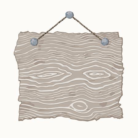 old sign: Light gray hanging blank old wooden sign. Illustration