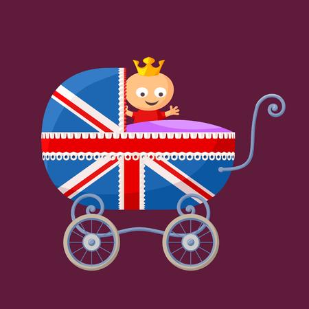 영국 왕실 아기 아기 캐리지 영국 플래그입니다. 일러스트