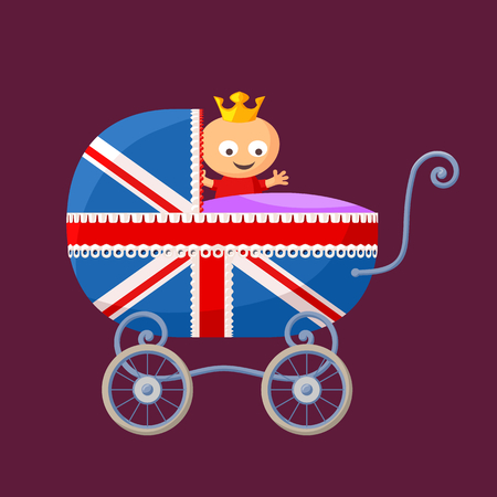English royal baby in baby carriage with British flag.