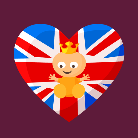 English royal baby in heart with British flag on the background.