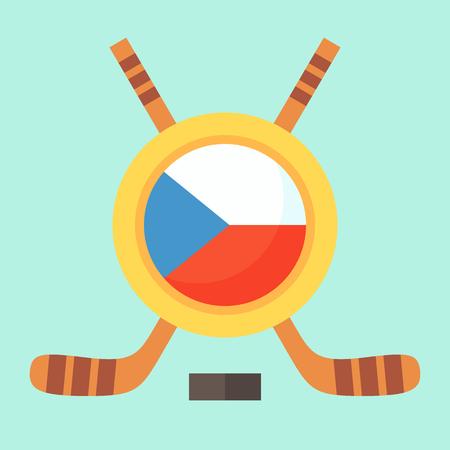 czech flag: Simbolo universale per il torneo internazionale di hockey (campionato, coppa) in Repubblica Ceca. Emblema contiene bandiera ceca e bastoni da hockey incrociate.