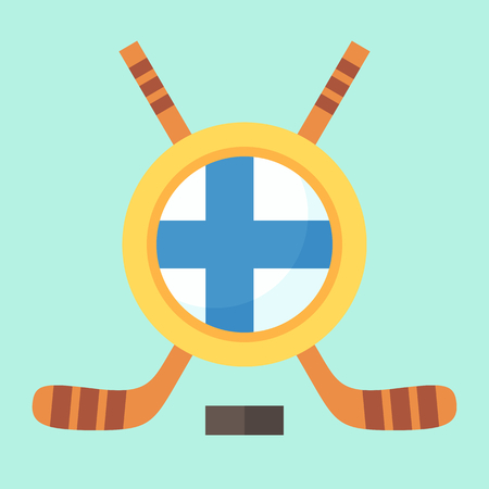 suomi: Universal symbol for international hockey tournament (championship, cup) in Finland. Emblem contains Finnish flag and crossed hockey sticks.