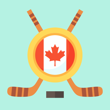 canadian flag: Universal symbol for international hockey tournament (championship, cup) in Canada. Emblem contains Canadian flag and crossed hockey sticks. Illustration
