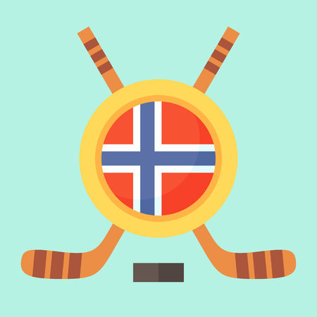norwegian flag: Universal symbol for international hockey tournament (championship, cup) in Norway. Emblem contains Norwegian flag and crossed hockey sticks.