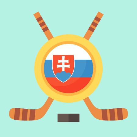 slovak: Universal symbol for international hockey tournament (championship, cup) in Slovakia. Emblem contains Slovak flag and crossed hockey sticks. Illustration