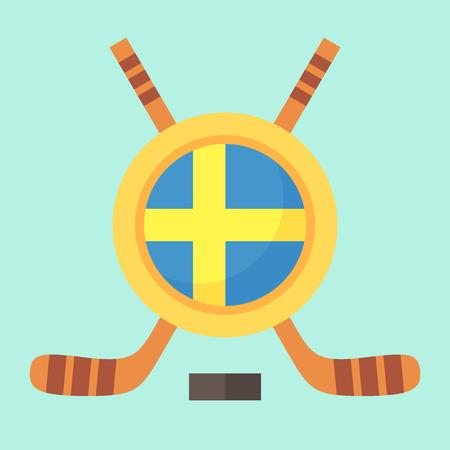 sverige: Universal symbol for international hockey tournament (championship, cup) in Sweden. Emblem contains Swedish flag and crossed hockey sticks. Illustration