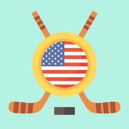 Universal symbol for international hockey tournament (championship, cup) in United States. Emblem contains US flag and crossed hockey sticks.