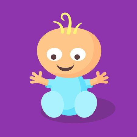 romper: Sitting smiling little baby boy in flat design style. Illustration