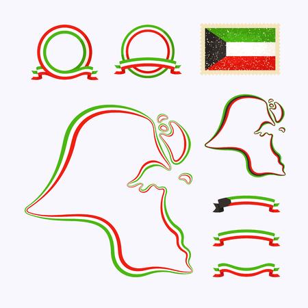 쿠웨이트 개요지도. 국경은 국가 색으로 리본으로 표시됩니다. 패키지에는 국가 색상의 프레임과 깃발이 찍혀 있습니다.
