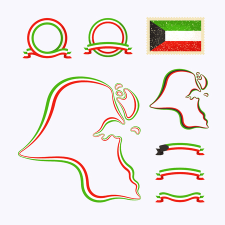 Outline map of Kuwait. Border is marked with ribbon in national colors. The package contains frames in national colors and stamp with flag.