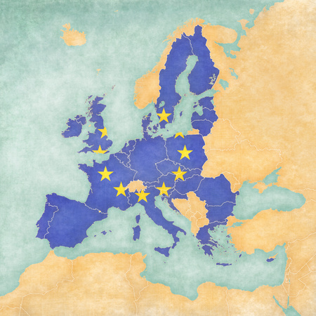 European Union (flag of EU) on the map of Europe. The Map is in vintage summer style and sunny mood. The map has soft grunge and vintage atmosphere, which acts as watercolor painting on old paper. photo