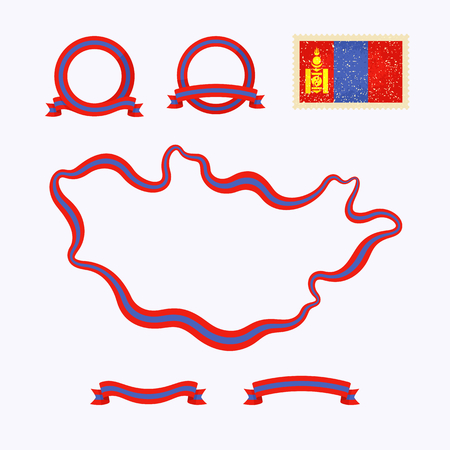 national border: Outline map of Mongolia. Border is marked with ribbon in national colors. The package contains frames in national colors and stamp with flag.