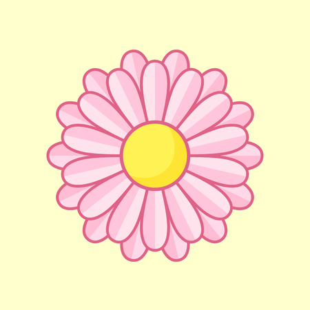 calendula: Simple illustration of pink flower with contour. Separate bloom. Illustration