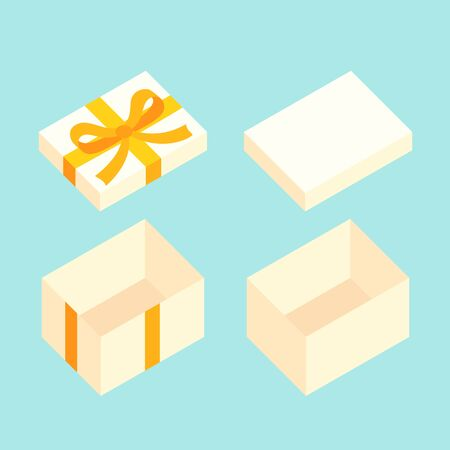 White open box for gifts with golden bow. Christmas and flat design variant.