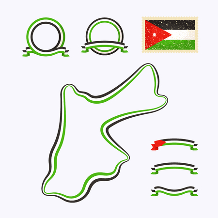 national border: Outline map of Jordan. Border is marked with ribbon in national colors. The package contains frames in national colors and stamp with flag. Illustration