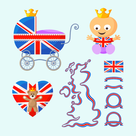 Set with English royal baby, baby carriage, teddy bear, heart, map, flag and ribbons in the colors of the United Kingdom. Vector