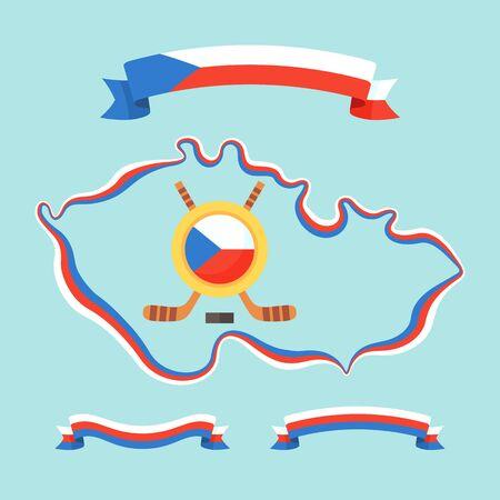 czech flag: Set per il torneo internazionale di hockey (campionato, coppa) in Repubblica Ceca. Nastri e simbolo contiene bandiera ceca e bastoni da hockey incrociate. Vettoriali