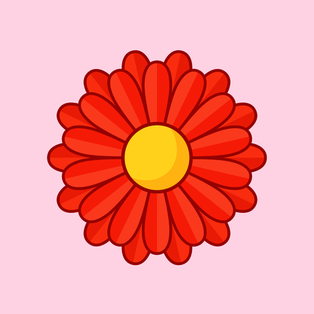 bloom: Simple illustration of red flower with contour. Separate bloom. Illustration