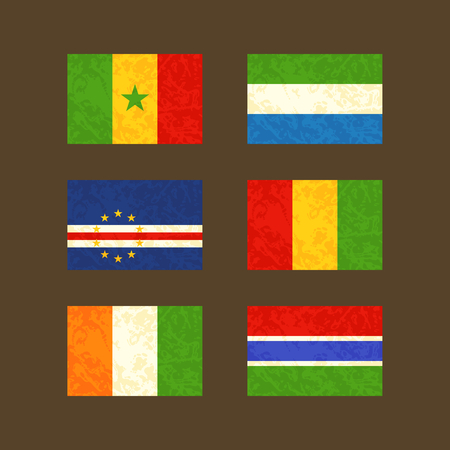 Flags of Senegal, Cape Verde, Ivory Coast, Sierra Leone, Guinea and the Gambia. Flags with light grunge dirty effect. Vector