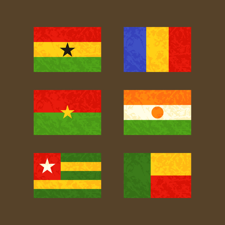 chadian: Flags of Ghana, Chad, Burkina Faso, Niger, Togo and Benin. Flags with light grunge dirty effect.