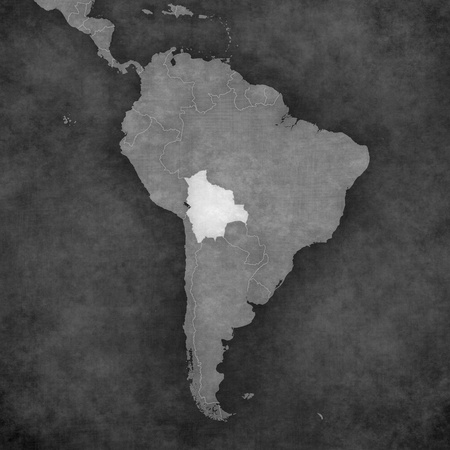 mainland: Bolivia on the map of South America. The Map is in vintage black and white style. The map has soft grunge and retro old paper atmosphere.